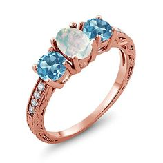 175 Ct Oval Cabochon White Simulated Opal Swiss Blue Topaz 14K Rose Gold Ring *** You can get additional details at the image link.