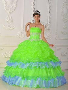 Strapless Beading and Ruffles Organza Quinceanera Dress in Green and Blue