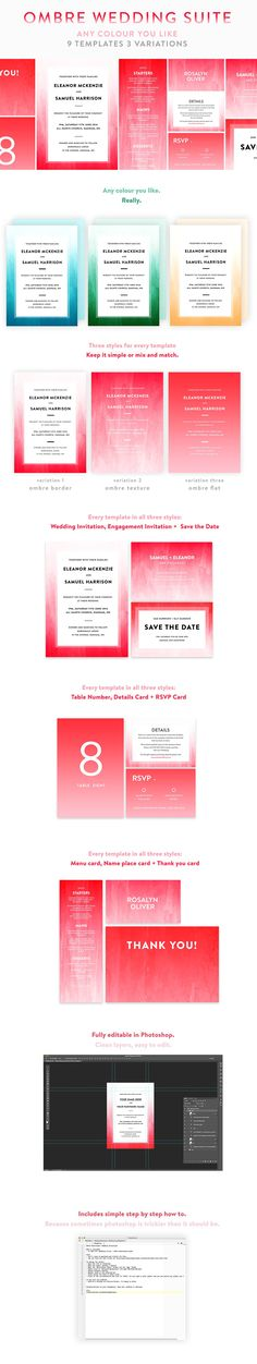 Watercolor Wedding Template Bundle Templates Ombre Watercolour 9 piece Wedding Invitation Suite includes:- Engagement Invitation- Save the Date by Wednesday Designs Diaper Invitation Template, Diy Wedding Invitations Templates, Simple Wedding Invitations, Wedding Invitation Suite, Passport Invitations, Invites, Engagement Invitations, Flower Invitation, Watercolor Wedding