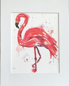 Pink Flamingo Watercolor Print 8 x 10 Matted by McKinneyx2Designs