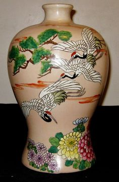 Antique Chinese Hand Painted Famille Rose Porcelain Vase 19th Century, NR.