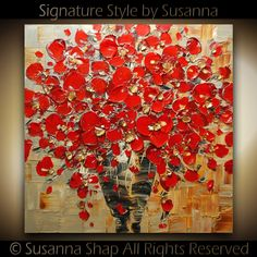 ORIGINAL Contemporary Textured Painting Red by ModernHouseArt, $325.00