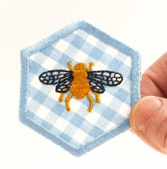 Iron on patch, embroidered patch, patch for backpack, patches for jeans, patches for jackets, blue gingham patch,bee patch, hexagons, hexie. by JaneAtNumber13 on Etsy