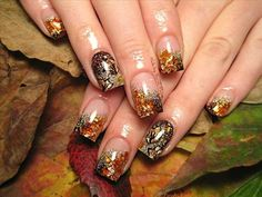 fall acrylic nail designs | Fallen Leaves | Nail Art Gallery