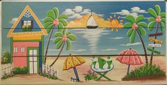 Tropical Beach Houses, Island Beach, Beach Scenes, Painting, Tropical Houses, Painting Art, Paintings, Painted Canvas, Drawings