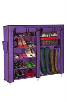 Etagère à chaussures 21 paires et housse - Violet