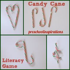 Candy Cane Literacy Game from Preschool Inspirations preschool inspir, literacy games, literaci game, candi cane, candy canes