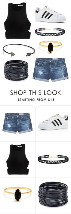 """Casual California"" by beccastylesxoxo on Polyvore featuring AG Adriano Goldschmied, adidas, T By Alexander Wang, LULUS, Bing Bang, ABS by Allen Schwartz and Bling Jewelry"