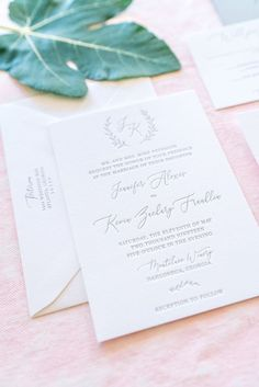 Minimalist Monogram Letterpress Wedding Invitation