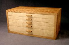 Curly Cherry And Curly Maple Jewelry Box---extra Large Jewelry Chest