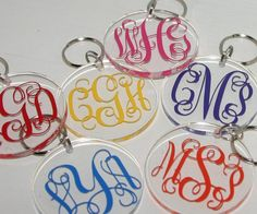 Monogrammed Acrylic Key Ring Personalized by happythoughtsgifts, $12.00