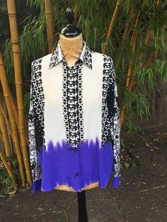 Etro Milano Oversize Silk Dip-Dye Blouse Size I 42 UK 10/12 L LARGE 2015 Collection Ladies