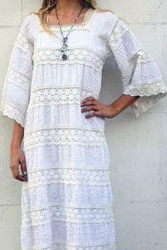 Vestido mexicano ojal blanco Vintage por TavinShop en Etsy