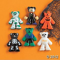 """Halloween Bears. These costumed vinyl bears make hauntingly adorable keepsakes! Dressed from head-to-toe in popular Halloween attire, these 1 3/4"""" wild animals are ready for a masquerade party! Drop them in goody bags or trick-or-treat sacks at your costume party! Collect the entire mob: mummy, pumpkin, skeleton, ghost, green monster and more!   $ 8.50/48 really like these for goody bags!!"""