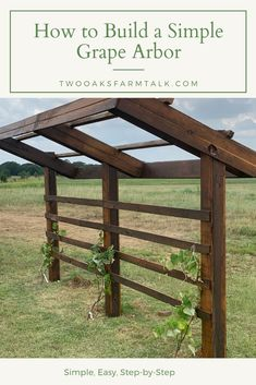 How to Build a Simple Grape Arbor How to Build a Simple Grape Arbor There are numerous things that can certainly eventually comprehensive your back yard, including an existing bright picket fence or a yard full of. Wooden Arbor, Wooden Garden, Landscaping Tips, Garden Landscaping, Grape Vine Trellis, Grape Vines, Diy Arbour, Grape Arbor, Diy Trellis
