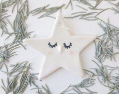 SLEEPY STAR ORNAMENT // Holiday Ornament, Holiday Decor, Children Decor, Nursury Decor, Christmas Ornament