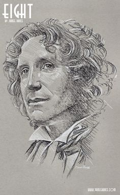 jameshance: Latest Doodle - 'Eight' (Doctor Who - Charcoal) Presenting your Eighth Doctor - the mighty Paul McGann! David Tennant, Science Fiction, Serie Doctor, Eighth Doctor, Paul Mcgann, Classic Doctor Who, Doctor Who Fan Art, Out Of Touch, Don't Blink