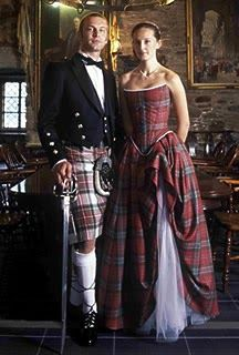 Traditional Scottish Tartan Wedding Dress  Tartan  is worn by Scottish brides, either on her plain white gown trimmed with tartan ribbons, a...
