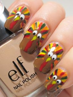 Thanksgiving Nail Art Challenge - Turkeys check out www.MyNailPolishObsession.com for more nail art ideas.