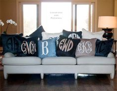 LOVE! my dream couch probably... this could be perfect with the same monogram and different fonts or a different monogram for everyone in the family!