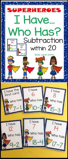 I Have Who Has subtraction from 20 | Number Operations | Math Games | kindergarten | first grade