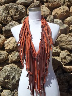 Upcycled Scarf Recycled Scarf Infinity Scarf Chocolate Brown and Orange. $15.00, via Etsy.