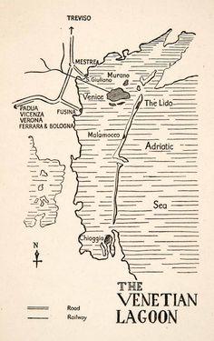 1928 Print Map Venetian Lagoon Italy Europe Treviso Mestre Murano Adriatic XGPC1