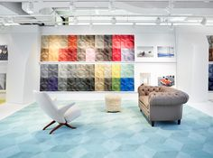 The award-winning Lume e Lustro Collection on display in the Milliken Chicago Showroom for #NeoCon14.