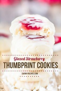 Glazed Strawberry Thumbprint Cookies