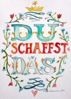 Grußkarte - Du schaffst das - Motivation von Maren Schmidt auf DaWanda.com
