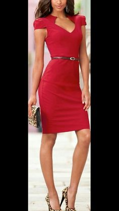 Red fitted dress ♡ Like the animal print purse and shoes♡♡