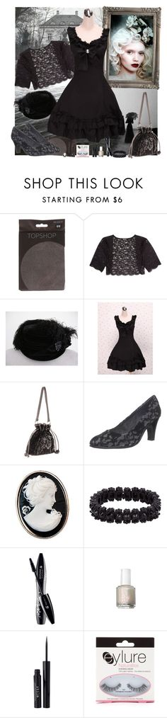 """Lolita Series: Classic+Gothic"" by fieruta ❤ liked on Polyvore featuring Seraphina, DKNY, Mary Frances Accessories, Aerosoles, Dollydagger, Philippe Audibert, Cameo, Lancôme, ULTA and Stila"