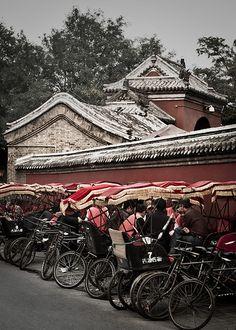 Rickshaw stand Bell Tower Beijing, China