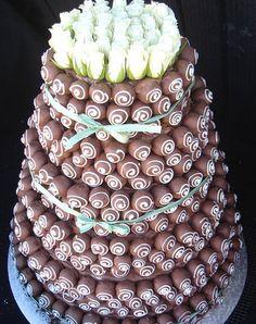 "Idea Inspiration - Cake pop tiered wedding ""cake""."