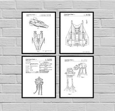 Star Wars 4 pack, Millennium Falcon, Tie Bomber, X-wing, AT-AT, Star Wars Poster, Star Wars Patent, Millennium Falcon Star Wars Print by STANLEYprintHOUSE  10.00 USD  This set comes with all 4 Star Wars prints.  We use only top quality archival inks and heavyweight matte fine art papers and high end printers to produce a stunning quality print that's made to last.  Any of these posters will make a great affordable gift, or tie any room together.  ..  https://www.etsy.com/ca/listing..