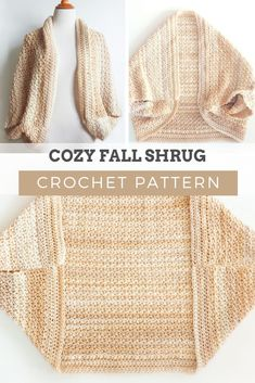 Crochet Pattern - COZY FALL SHRUG: One of my favorite details on this cozy sweater is the use of the delicate spider stitch. CLICK THE LINK NOW! One of the patterns that stands out the most this season is this beautiful cozy fall shrug. Gilet Crochet, Crochet Cardigan Pattern, Crochet Jacket, Crochet Stitches, Knit Crochet, Easy Crochet Shrug, Crochet Shrugs, Vest Pattern, Crochet Sweaters