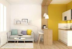 Une cuisine ouverte sur le salon décoré de façon nordique, c'est possible grâce au bois et aux meubles épurés ! Crédit photo : Pinterest/lanoemarion.com