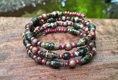 Magazine Paper bead & Jasper memory wire bracelet  by stillrain