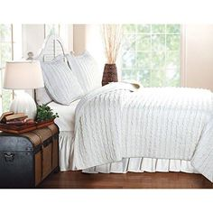 Greenland Home Fashions Ruffled 2 Piece Quilt Set White