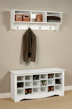 Amazon.com - Prepac Shoe Storage Cubbie Bench, White -