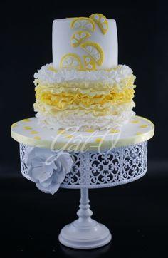 Lemonade theme ruffles cake