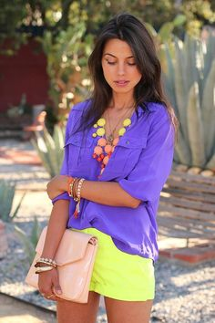 purple and yellow. with necklace to make it pop!