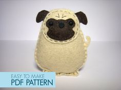 Pig the Pug - Easy to sew felt PDF pattern. DIY Harold the Pug, finger puppet and ornament.