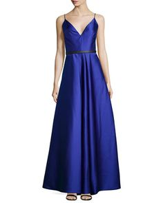 Sleeveless Belted Mikado Ball Gown  by ML Monique Lhuillier at Neiman Marcus.