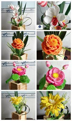 crochet flower twigs