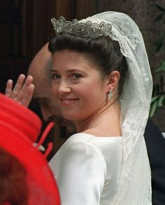 Princess Alexia of Greece and Denmark married Carlos Morales Quintana on 9th July 1999, for the wedding she wore the Khedive of Egypt Tiara; it is a tradition in the Danish Royal Family for direct female descendants of Queen Ingrid wear this tiara to marry in.