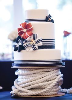 nautical wedding. love the spool under the cake