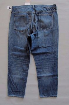 GAP Original Slouchy Boyfriend Jeans 33 16 Medium Indigo Cotton Denim NEW 237176 #GAP #BoyfriendRelaxedStraightLeg