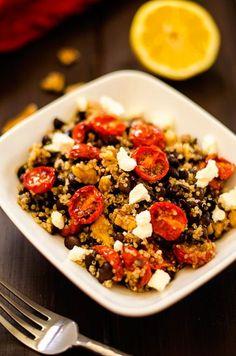 Oven Roasted Tomato Black Bean Quinoa Salad