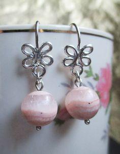 New aerring model Pink. Silver 950 and gemstone Rhodochrosite. #HandMade